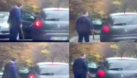 (VIDEO) SCANDAL ÎN TRAFIC. ȘOFER AMENINȚAT CU BÂTA
