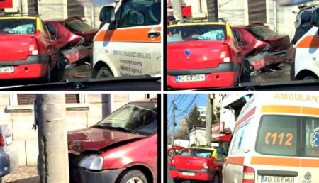 (VIDEO) ACCIDENT ÎN PITEȘTI. TAXI IMPLICAT