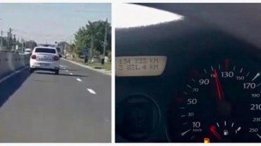 (VIDEO) ECHIPAJ DE POLIȚIE, FILMAT GONIND CU VITEZĂ PE UN DRUM DIN ARGEȘ