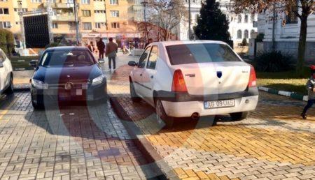 (VIDEO) MAȘINĂ-RADAR NEINSCRIPȚIONATĂ, PARCATĂ ILEGAL ÎN CENTRUL PITEȘTIULUI
