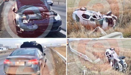 UPDATE: ACCIDENT PE A1, MAȘINĂ RĂSTURNATĂ