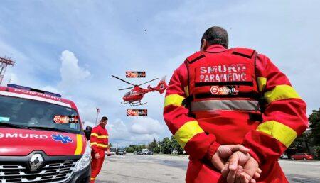 Video – Elicopter SMURD, la Stadion pentru un copilaș de trei zile!