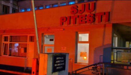 Video – Spitalul Județean de Urgență Pitești, iluminat în portocaliu